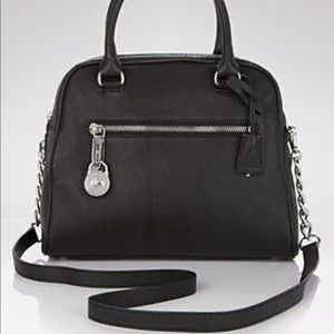 Michael Kors Joan LG Satchel Black Leather